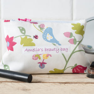 Personalised Floral And Bird Cosmetic Bag