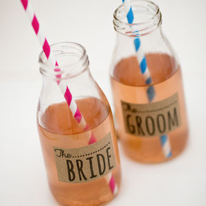 Personalised Vintage Wedding Labelled Milk Bottle