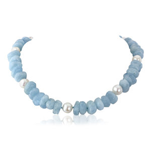 Aquamarine Chip Necklace With Baroque Pearls