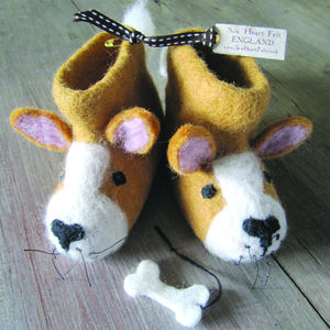 Prince The Corgi Felt Animal Slippers
