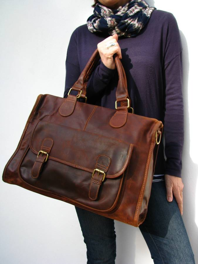 leather weekend bag by the leather store | notonthehighstreet.com