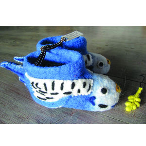 Bert The Budgie Felt Animal Slippers - children's slippers