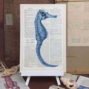 Seaside 'Seahorse' Antique Dictionary Page Art Print - mixed media & collage