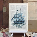 Seaside 'Ship' Antique Dictionary Page Art Print