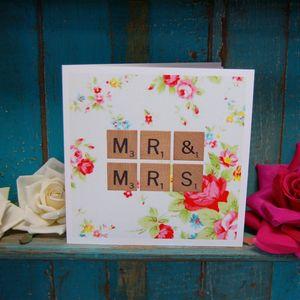 Scrabble Vintage Print Wedding Card
