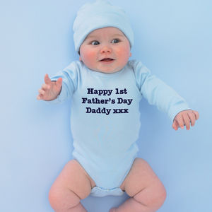 Personalised 'Happy 1st Father's Day' Babygrow - babygrows