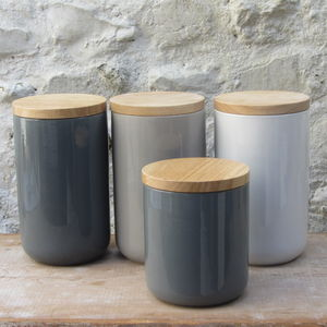 Ceramic Storage Jars With Wooden Lids - kitchen accessories