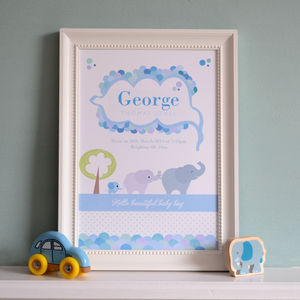 Personalised Birth Print Baby Elephant - children's pictures & paintings