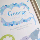 Personalised Birth Print Baby Elephant