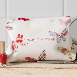 Personalised Butterfly Cosmetic Bag - make-up & wash bags