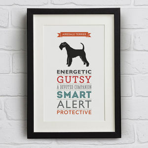 Airedale Terrier Dog Breed Traits Print - new lines added