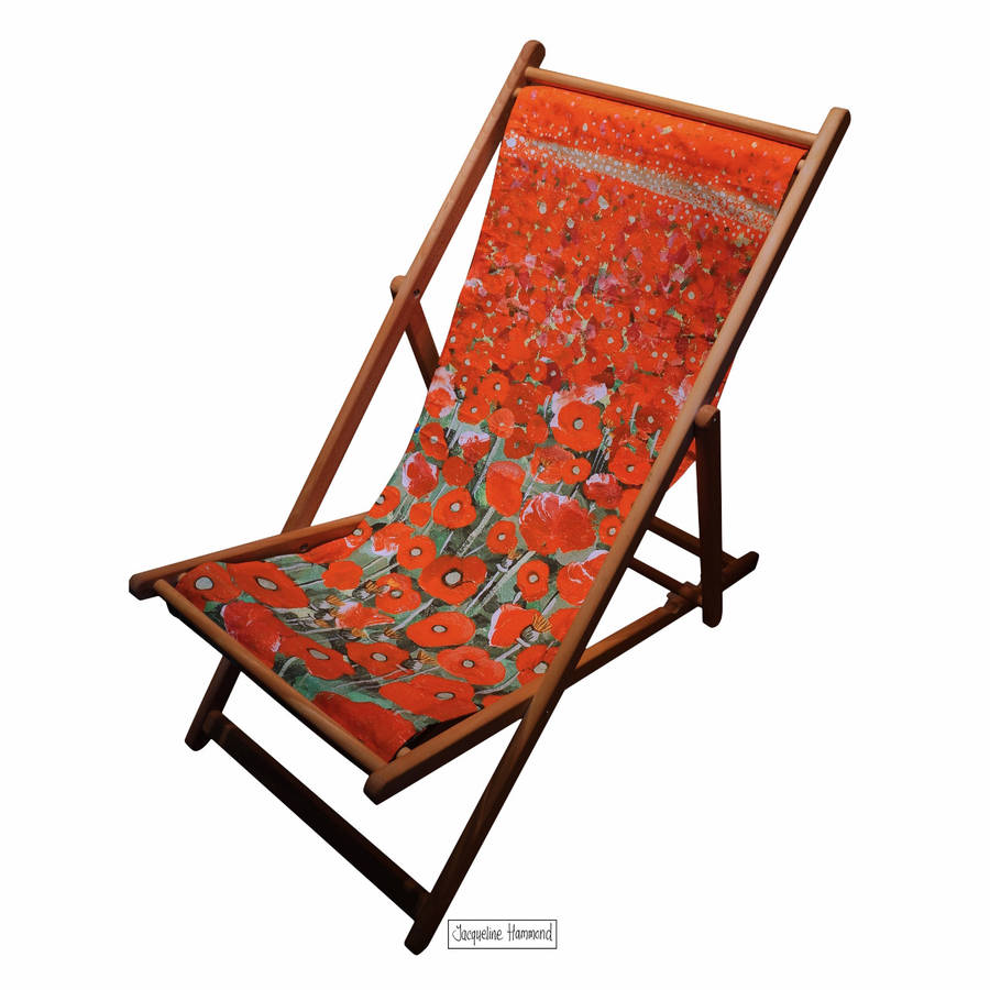 poppy art print deckchair by smart deco. Black Bedroom Furniture Sets. Home Design Ideas