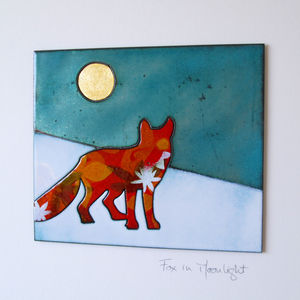 Fox In Moonlight Enamel And Copper Wall Hanging