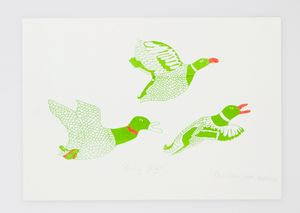 A3 Flying Ducks Silkscreen Print