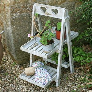 Four Tier Wooden Plant Pot Stand - garden