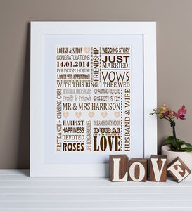 Personalised Wedding Story Print - personalised