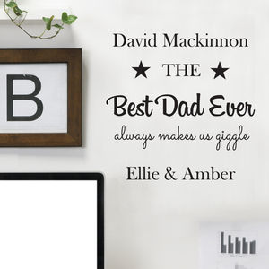 Personalised 'Best Dad Ever' Wall Sticker