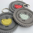 Fabric Birdy Key Ring