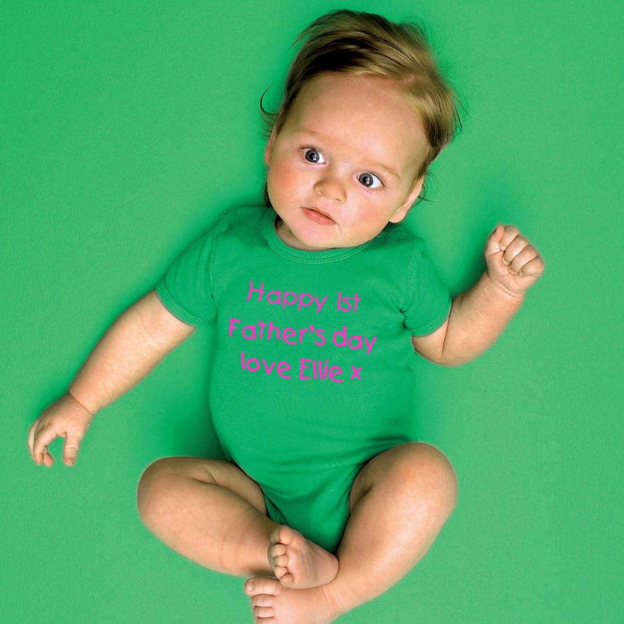 personalised u0027happy 1st father u0027s day u0027 babygrow by simply colors
