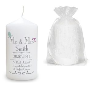 Mr And Mrs Personalised Wedding Candle - candles