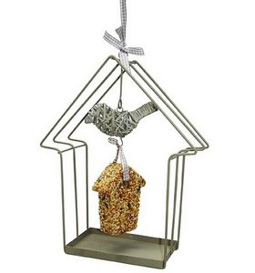 Metal House Bird Feeder With Seeds - birds & wildlife