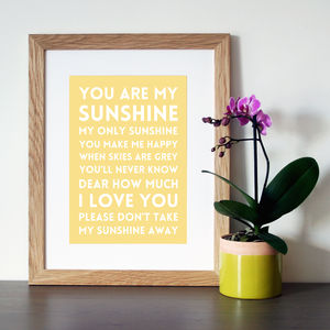 'You Are My Sunshine' Song Lyric Art Print Or Canvas