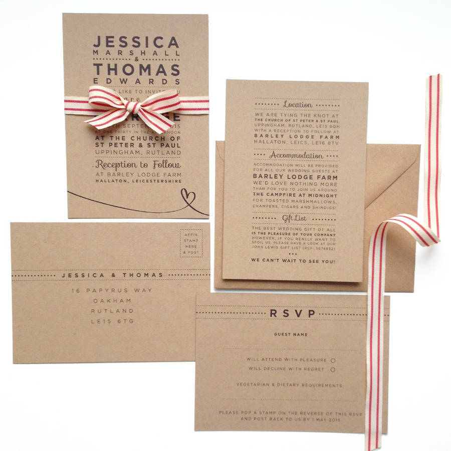 'henley rustic kraft' wedding stationery set by megan ...