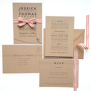 'Henley Rustic Kraft' Wedding Stationery Set - ribbons
