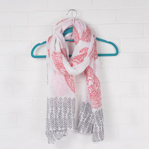 Hand Block Print Cotton Scarf, Paisley - hats, scarves & gloves
