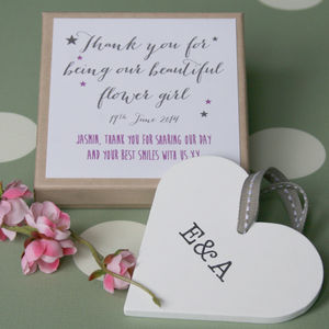 Personalised Flower Girl Wedding Heart - wedding favours
