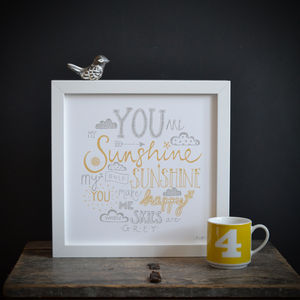 'You Are My Sunshine' Framed Lyrics Typography Print - art-lover