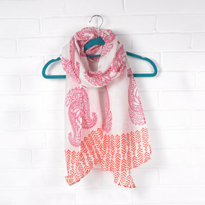 Hand Block Print Cotton And Silk Scarf, Paisley - hats, scarves & gloves