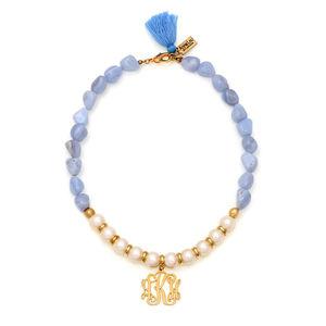 Monogram Semi Precious Stones Pearl Necklace