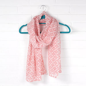 Hand Block Print Silk And Cotton Scarf, Tile