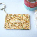 Wooden Custard Cream Biscuit Keyring