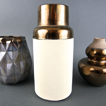 Clay Vase With Burnished Copper Top