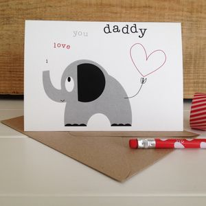 Heart And Elephant Father's Day Card With Sticker