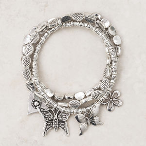 Charity Butterfly And Leaf Charm Stretch Bracelets - women's jewellery