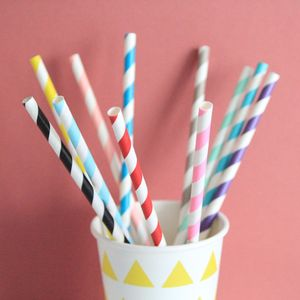 Striped Paper Straws - dining room