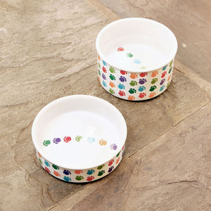 Paw Print Ceramic Dog Food Or Water Bowl - bowls & mats