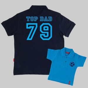 Matching Dad And Child Football Polo Shirts