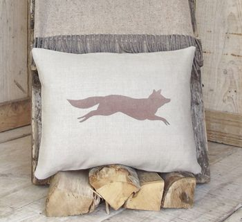 ' Chestnut Fox ' Linen Cushion