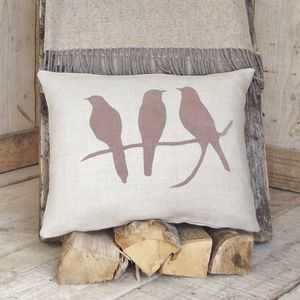 ' Bird On A Branch ' Linen Cushion