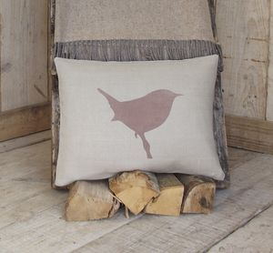 ' Jenny Wren ' Irish Linen Cushion - patterned cushions