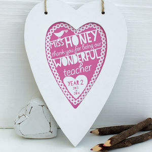 Personalised Teacher Framed Heart Print - wedding favours