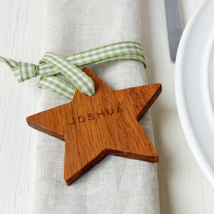 Personalised Wooden Star Place Setting - table decorations