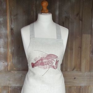 ' Red Lobster ' Irish Linen Apron And Tea Towel Set - kitchen accessories