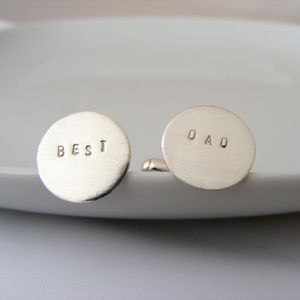 Silver Best Dad Cufflinks - cufflinks