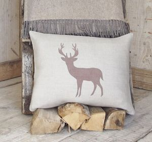 ' Chestnut Deer ' Linen Cushion