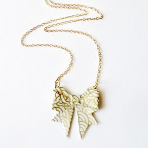 Golden Waves Origami Paper Bow Necklace